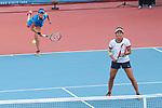 Moyuka Uchijima &    Erina Hayashi (JPN), <br /> AUGUST 20, 2018 - Tennis : <br /> Women's Doubles Round of 32 <br /> at Jakabaring Sport Center Tennis Court <br /> during the 2018 Jakarta Palembang Asian Games <br /> in Palembang, Indonesia. <br /> (Photo by Yohei Osada/AFLO SPORT)