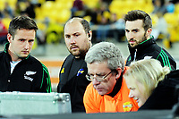 Officials check a replay during the Super Rugby match between the Hurricanes and Crusaders at Westpac Stadium in Wellington, New Zealand on Saturday, 10 March 2018. Photo: Dave Lintott / lintottphoto.co.nz