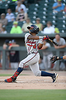Center fielder Justin Deam (5) of the Rome Braves bats in a game against the Columbia Fireflies on Saturday, August 17, 2019, at Segra Park in Columbia, South Carolina. Rome won, 4-0. (Tom Priddy/Four Seam Images)