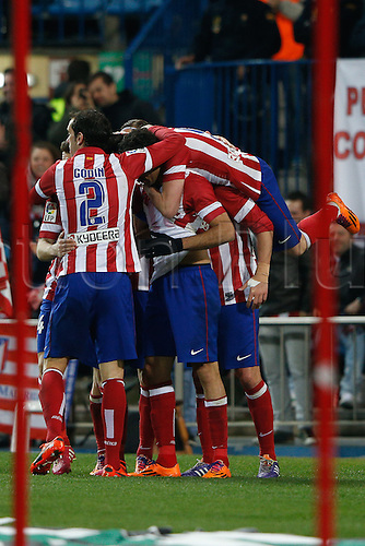 15.03.2014. Madrid, Spain. La Liga football. Atletico Madrid versus Espanyol at Vicente Calderon stadium.  Diego da Silva Costa (Brazilian midfielder of At. Madrid) celebrating his team's goal