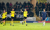 3rd December 2019; Pirelli Stadium, Burton Upon Trent, Staffordshire, England; English League One Football, Burton Albion versus Southend United; Scott Fraser of Burton Albion celebrates after scoring from a free kick past Southend United Goalkeeper Nathan Bishop to equalise 1-1 in the 49th minute - Strictly Editorial Use Only. No use with unauthorized audio, video, data, fixture lists, club/league logos or 'live' services. Online in-match use limited to 120 images, no video emulation. No use in betting, games or single club/league/player publications