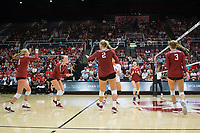 STANFORD, CA - September 9, 2018: Jenna Gray, Kate Formico, Kathryn Plummer, Holly Campbell, Morgan Hentz, Meghan McClure at Maples Pavilion. The Stanford Cardinal defeated #1 ranked Minnesota 3-1 in the Big Ten / PAC-12 Challenge.