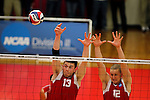 29 APR 2012:  Pat Barry (13) and Tyler Frings (12) of Carthage College jump up to block a shot by Springfield College during the Division III Men's Volleyball Championship held at Blake Arena in Springfield, MA.  Springfield defeated Carthage 3-0 to win the national title.  Jessica Rinaldi/NCAA Photos