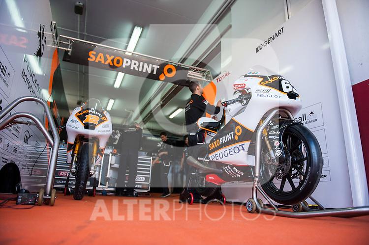 VALENCIA, SPAIN - NOVEMBER 11: Peugeot MC Saxoprint box during Valencia MotoGP 2016 at Ricardo Tormo Circuit on November 11, 2016 in Valencia, Spain