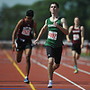Ryan Freedman, Bellmore JFK senior, races to victory in the boys 400 meter intermediate hurdles event during the Nassau County AA track and field championships at Glen Cove High School on Thursday, May 26, 2016. He won with a time of 59.84.