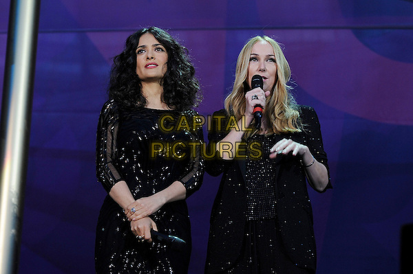 Salma Hayek<br /> Presenting at the 'Chime For Change' concert, Twickenham Stadium,  London, England. 1st June 2013 <br /> music live on stage gig half length black dress sequined sequin <br /> CAP/MAR<br /> &copy; Martin Harris/Capital Pictures