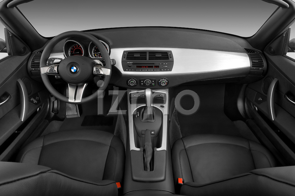 Straight dashboard view of a 2008 BMW Z4 Roadster.