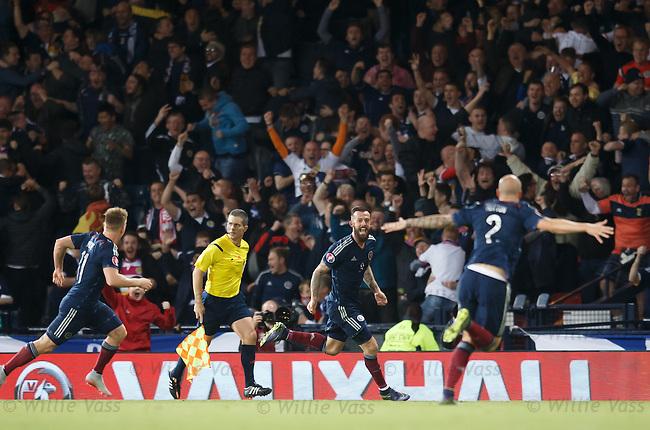Steven Fletcher celebrates after scoring for Scotland