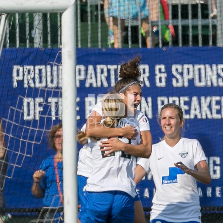 Allston, Massachusetts - July 17, 2016:  In a National Women's Soccer League (NWSL) match, Sky Blue FC (blue) defeated Boston Breakers (white/blue), 3-2, at Jordan Field.<br /> <br /> Goal celebration.