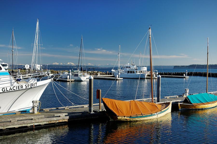 Boats at dock, Point Hudson Marina, Port of Port Townsend, Jefferson County, Washington, USA