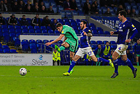 4th January 2020; Cardiff City Stadium, Cardiff, Glamorgan, Wales; English FA Cup Football, Cardiff City versus Carlisle; Ryan Loft of Carlisle United shoots at goal while under pressure from Lee Tomlin of Cardiff City - Strictly Editorial Use Only. No use with unauthorized audio, video, data, fixture lists, club/league logos or 'live' services. Online in-match use limited to 120 images, no video emulation. No use in betting, games or single club/league/player publications