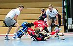 MANNHEIM, DEUTSCHLAND, JANUAR 12: 5. Spielwochenende in der Hockey Hallensaison 2013/2014 Süd. Begegnung zwischen dem Mannheimer HC (blau) und dem Münchner SC (weiss)  in der 1. Bundesliga Herren am 12. Januar, 2013 in der Irma-Röchling-Halle in Mannheim, Deutschland. Endstand 4-3. (2-3) (Photo by Dirk Markgraf / www.265-images.com) *** Local caption ***
