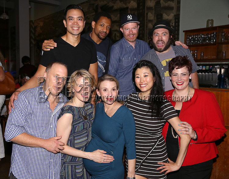 Cast members (Back, L-R) Jose Llana, Derrick Baskin, Jesse Tyler Ferguson and Dan Fogler, and (Front L-R) Jay Reiss, Celia Keenan-Bolger, Sarah Saltzberg, Deborah S. Craig and Lisa Howard attends the After Party for the One Night Only 10th Anniversary Concert of 'The 25th Annual Putnam County Spelling Bee' at Town Hall on July 6, 2015 in New York City.