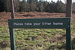 Sign saying 'Please take your Litter Home' Rendlesham forest, Suffolk, England