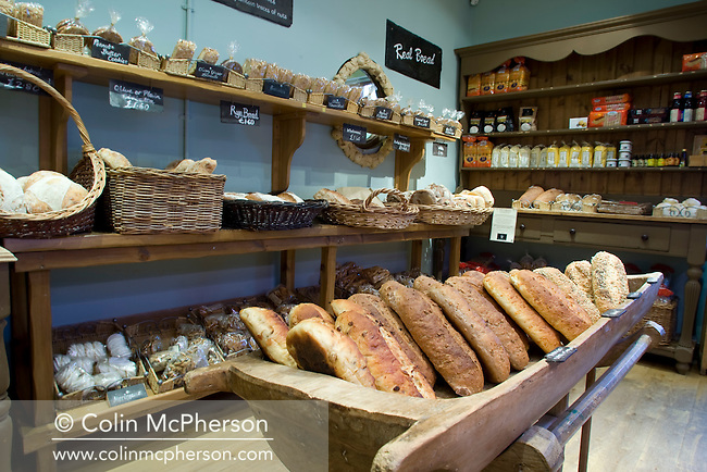 Freshly-baked bread on display in the shop at the Cheshire Smokehouse in Wilmslow, Cheshire, which has been included in the newly-established Cheshire Food Trails. The bread has been baked on the premises.