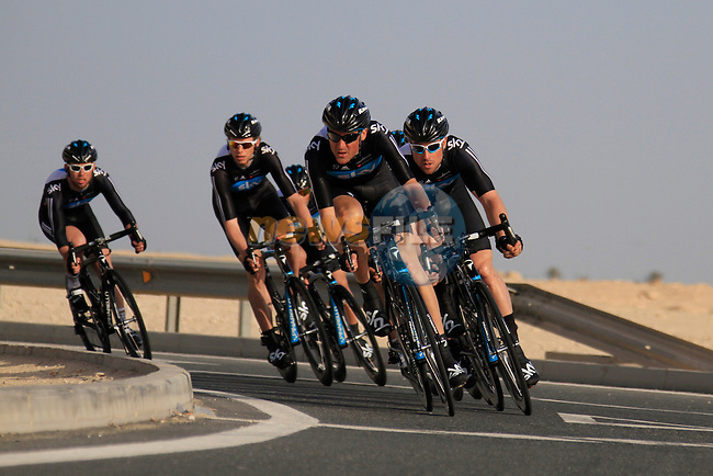 Sky Procycling team in action during the 2nd Stage of the 2012 Tour of Qatar a team time trial at Lusail Circuit, Doha, Qatar, 6th February 2012 (Photo Eoin Clarke/Newsfile)