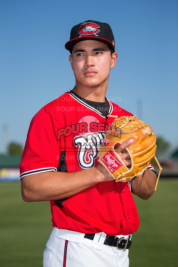 Carolina Mudcats pitcher Kodi Medeiros (16) poses for a photo following the game against the Winston-Salem Dash at Five County Stadium on May 14, 2017 in Zebulon, North Carolina.  The Mudcats walked-off the Dash 11-10.  (Brian Westerholt/Four Seam Images)