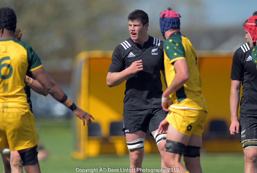 Zach Gallagher during the rugby union match between New Zealand Schools and Australia Under-18s at St Paul's Collegiate in Hamilton, New Zealand on Friday, 4 October 2019. Photo: Dave Lintott / lintottphoto.co.nz