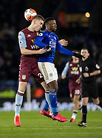 Leicester City's Kelechi Iheanacho (right) competing with Aston Villa's Bjorn Engels <br /> <br /> Photographer Andrew Kearns/CameraSport<br /> <br /> The Premier League - Leicester City v Aston Villa - Monday 9th March 2020 - King Power Stadium - Leicester<br /> <br /> World Copyright © 2020 CameraSport. All rights reserved. 43 Linden Ave. Countesthorpe. Leicester. England. LE8 5PG - Tel: +44 (0) 116 277 4147 - admin@camerasport.com - www.camerasport.com