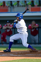 Derek Rodriguez #4 of the Burlington Royals follows through on his swing against the Kernersville Bulldogs in an exhibition game at Burlington Athletic Stadium June20, 2010, in Burlington, North Carolina.  Photo by Brian Westerholt / Four Seam Images