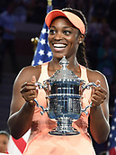 9th September 2017, FLushing Meadows, New York, USA;  Sloan Stephens (USA) with the trophy after winning the US Open Women's Singles title  at the USTA Billie Jean King National Tennis Center in Flushing Meadow, NY.
