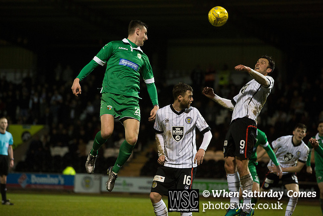 St Mirren 4 The New Saints 1, 19/02/2017. Paisley 2021 Stadium, Scottish Challenge Cup. Scott Quigley (left) and John Sutton challenge for a ball during the second-half at the Paisley2021 Stadium as Scottish Championship side St Mirren (in white) played Welsh champions The New Saints in the semi-final of the Scottish Challenge Cup for the right to meet Dundee United in the final. The competition was expanded for the 2016-17 season to include four clubs from Wales and Northern Ireland as well as Scottish Premier under-20 teams. Despite trailing at half-time, St Mirren won the match 4-1 watched by a crowd of 2044, including 75 away fans. Photo by Colin McPherson.