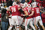 Wisconsin Badgers wide receiver Kendric Pryor (3) celebrates his first career touchdown with teammates during an NCAA College Big Ten Conference football game against the Iowa Hawkeyes Saturday, November 11, 2017, in Madison, Wis. The Badgers won 38-14. (Photo by David Stluka)