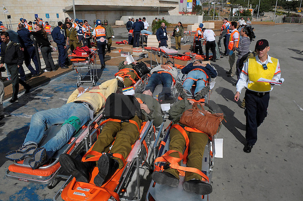 A security drill,simulating a terror attack,was held this morning at the Haifa Mall,Tuesday November 3 2009.The drill consisted of treatment of wounded and search and combat with the terrorists.An airborn rescue was also carried out.PHOTO BY TOMER NEUBERG