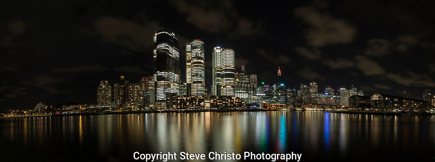 City at night from Darling Point at Darling Park on Tuesday, 4th of April 2017, Sydney, Australia (Photo: Steve Christo)