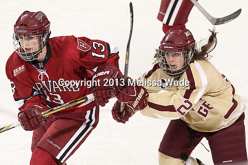 Kalley Armstrong (Harvard - 13), Kristina Brown (BC - 2) - The Boston College Eagles defeated the visiting Harvard University Crimson 3-1 in their NCAA quarterfinal matchup on Saturday, March 16, 2013, at Kelley Rink in Conte Forum in Chestnut Hill, Massachusetts.