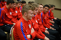 Bradenton, FL : US Soccer athletes, U-16, U-17, U-18, U-19, U-20, listen to a presentation held by US Soccer staff and coaches in Bradenton, Fla., on January 4, 2018. (Photo by Casey Brooke Lawson)