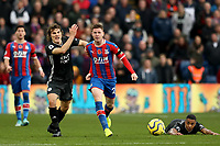3rd November 2019; Selhurst Park, London, England; English Premier League Football, Crystal Palace versus Leicester City; A dejected James McCarthy of Crystal Palace competes for the ball with Caglar Soyuncu of Leicester City  - Strictly Editorial Use Only. No use with unauthorized audio, video, data, fixture lists, club/league logos or 'live' services. Online in-match use limited to 120 images, no video emulation. No use in betting, games or single club/league/player publications