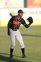 Kyle Lewis (5) of the Modesto Nuts throws in the outfield before a game against the Lancaster JetHawks at The Hanger on September 13, 2017 in Lancaster, California. Modesto defeated Lancaster, 8-5. (Larry Goren/Four Seam Images)
