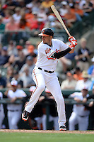 Baltimore Orioles infielder Ryan Flaherty (3) during a spring training game against the Philadelphia Phillies on March 7, 2014 at Ed Smith Stadium in Sarasota, Florida.  Baltimore defeated Philadelphia 15-4.  (Mike Janes/Four Seam Images)