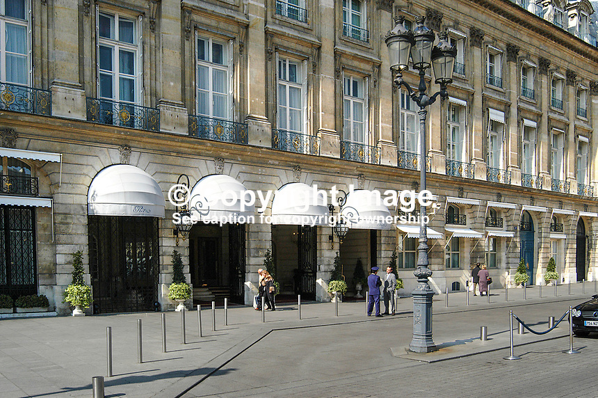 Ritz Hotel, Place Vendome, Paris, France (hotel has four white canopies). Ref: 200403294207.<br />