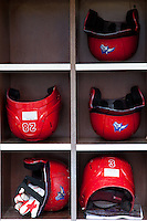 Stony Brook Seawolves helmet rack at the NCAA Super Regional baseball game on June 9, 2012 at Alex Box Stadium in Baton Rouge, Louisiana. LSU defeated Stony Brook 5-4 in 12 innings. (Andrew Woolley/Four Seam Images)