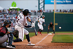 Reno Aces' Andy Young hits against the Sacramento River Cats in Reno, Nev., on Thursday, July 4, 2019.<br /> Photo by Cathleen Allison/Nevada Momentum