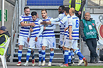 03.11.2018, Schauinsland-Reisen-Arena, Duisburg, GER, 2. FBL, MSV Duisburg vs. SC Paderborn 07, DFL regulations prohibit any use of photographs as image sequences and/or quasi-video<br /> <br /> im Bild die Mannschaft von Duisburg Jubel / Freude / Emotion / Torjubel / Torschuetze zum 1:0 Cauly Oliveira-Souza (#20, MSV Duisburg) <br /> <br /> Foto © nordphoto/Mauelshagen