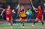 Los Angeles, CA 02/28/14 - Nina Kelty (USC #47), Kirsten Viscount (Marist #22) and unidentified Marist player(s) in action during the Marist Red Foxes vs University of Southern California Trojans NCAA Women's lacrosse game at Loker Track Stadium on the USC Campus.  Marist defeated USC 12-10.