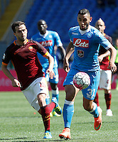 Calcio, Serie A: Roma vs Napoli. Roma, stadio Olimpico, 25 aprile 2016.<br /> Napoli's Faouzi Ghoulam, right, is chased by Roma's Miralem Pjanic during the Italian Serie A football match between Roma and Napoli at Rome's Olympic stadium, 25 April 2016.<br /> UPDATE IMAGES PRESS/Riccardo De Luca