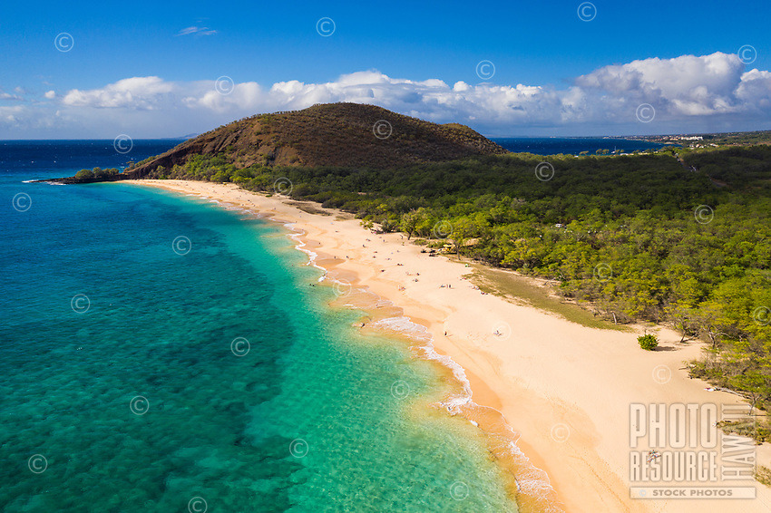 Aerial view of Makena Beach, Maui, on a clear day.
