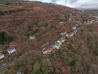Aerial view of the houses to be demolished due to landslips on Cyfyng Road in Ystalyfera, Wales, UK. Monday 11 February 2019