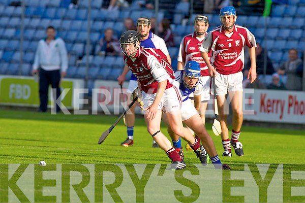 Causeway's Kieran Leahy and St Brendan's Tom Moloney challenge for the ball at Austin Stack park on Saturday.