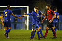 Freddy Moncur of Romford  (R) is congratulated after scoring the second Romford goal during Romford vs Coggeshall Town, BetVictor League North Division Football at the Brentwood Centre on 16th November 2019