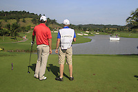 Padraig Harrington (IRL) and caddy Ronan Flood prepare to tee off on the 10th tee during Sundays Final Round 3 of the 54 hole Iskandar Johor Open 2011 at the Horizon Hills Golf Resort Johor, Malaysia, 19th November 2011 (Photo Eoin Clarke/www.golffile.ie)