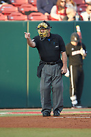 Home plate umpire Greg Howards calls a batter out on strikes during the game between the North Carolina State Wolfpack and the Louisville Cardinals at Doak Field at Dail Park on March 24, 2017 in Raleigh, North Carolina. The Wolfpack defeated the Cardinals 3-1. (Brian Westerholt/Four Seam Images)