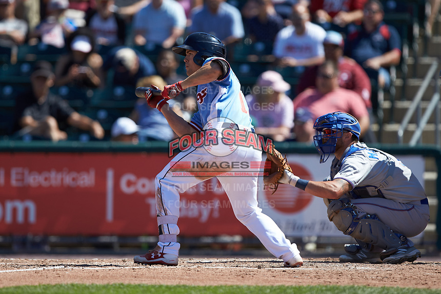 Scott Kingery (11) of the Lehigh Valley Iron Pigs squares to bunt against the Durham Bulls at Coca-Cola Park on July 30, 2017 in Allentown, Pennsylvania.  The Bulls defeated the IronPigs 8-2.  (Brian Westerholt/Four Seam Images)