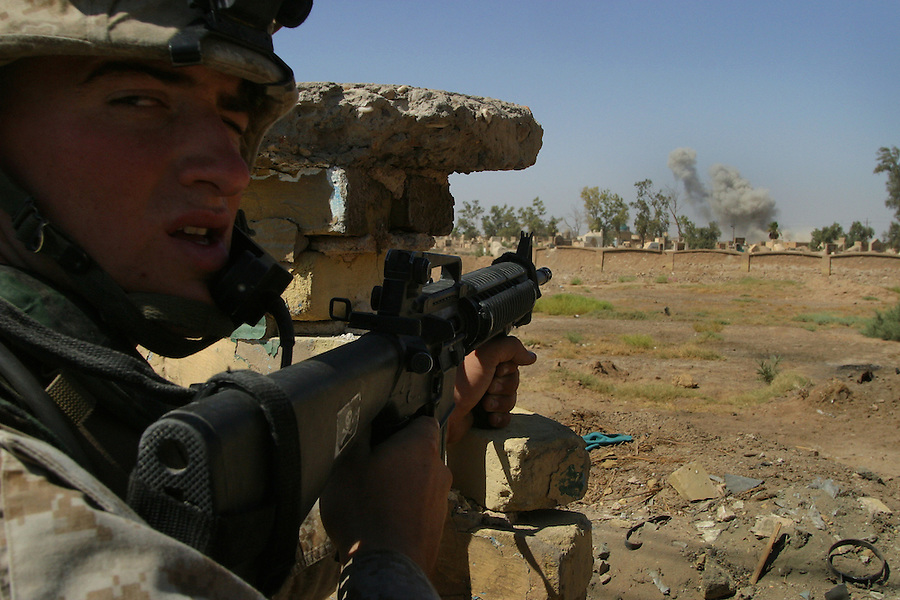 The Marines of the 11th Marine Expeditionary Unit battle the fighters of the Moqtada al-Sadr-led Mehdi Army on the opening day of the Battle of Najaf in August, 2004.<br />