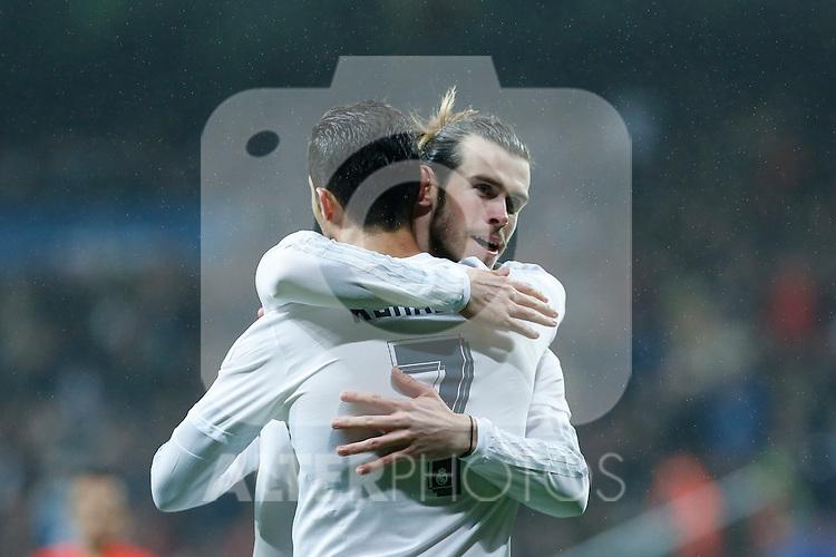 Real Madrid´s Gareth Bale celebrates a goal with Cristiano Ronaldo during 2015/16 La Liga match between Real Madrid and Deportivo de la Coruna at Santiago Bernabeu stadium in Madrid, Spain. January 09, 2015. (ALTERPHOTOS/Victor Blanco)