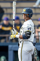 Michigan Wolverines designated hitter Jordan Nwogu (42) at the plate in the NCAA baseball game against the Michigan State Spartans on May 7, 2019 at Ray Fisher Stadium in Ann Arbor, Michigan. Michigan defeated Michigan State 7-0. (Andrew Woolley/Four Seam Images)